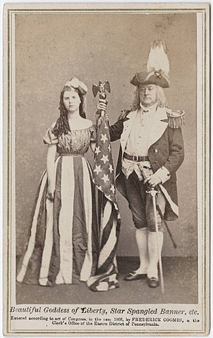 Columbia (name) - Carte de visite c. 1866, featuring a woman dressed as Columbia and a man dressed as a Revolutionary War general