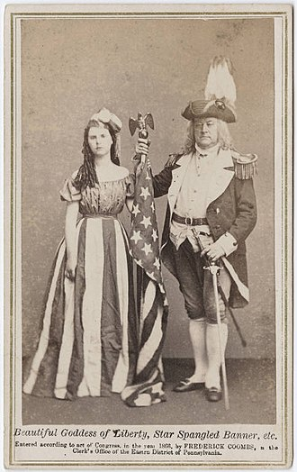 Columbia (name) - Carte de visite (c. 1866) featuring a woman dressed as Columbia and a man dressed as a Revolutionary War general