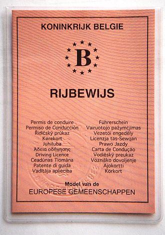 European driving licence - Image: Belgisch rijbewijs