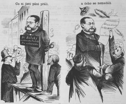 "Cartoon depicting Vaclav Belsky (1818-1878), Mayor of Prague from 1863 until 1867, in charge of the city during Prussian occupation in July 1866. Some forces wanted to try him for high treason (left: ""What some men wished"" - ""Dr. Belsky for high treason""), but he got a full confidence from the Council of Prague (right: ""but what they did not expect"" - ""address of confidence from the city of Prague""). Belsky Vaclav Cartoon.png"