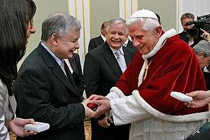 Jarosław Kaczyński - Polish Prime Minister Jarosław Kaczyński with Pope Benedict XVI