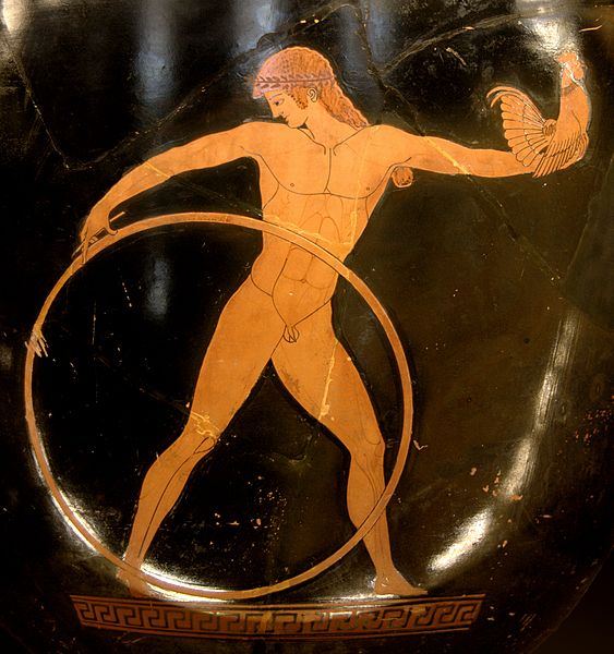 a Greek man with a hoop and elater (c. 490 BC) - Greco-Roman Hoop Rolling