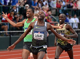 Bernard Lagat - Lagat (center) winning the 5000 m race at the 2016 Olympic Trials