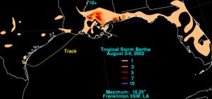 Tropical Storm Bertha (2002) - Total rainfall map of Bertha in the Gulf coast