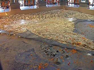 Bharat Mata - The relief map of India as Bharatmata, carved out of marble at Bharat Mata Mandir, Varanasi