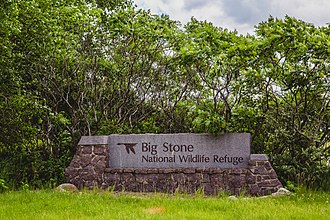 Big Stone National Wildlife Refuge - An entrance sign marker at Big Stone National Wildlife Refuge
