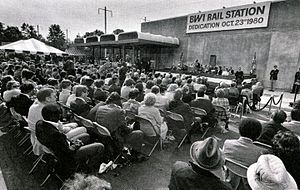 BWI Rail Station - Amtrak VP Bill Norman speaks at the dedication ceremony in October 1980