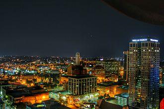 Birmingham, Alabama - Birmingham skyline at night from atop the City Federal Building, July 1, 2015