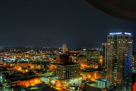 Birmingham skyline at night from atop the City Federal Building, July 1, 2015 Birmingham Skyline.jpeg