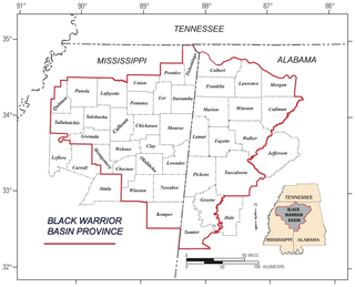 Black Warrior Basin geological feature in Alabama and Mississippi