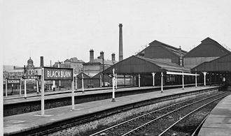 Blackburn railway station - View NE, towards Burnley and Hellifield in 1965