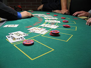 A blackjack game in progress