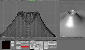 English: Modeling a volcano in Blender 3D.