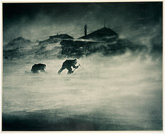 Cape Denison -  This 1912 photo by Frank Hurley shows the fierce winds.