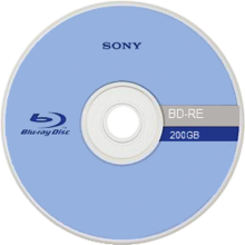 Front of an experimental 200 gb rewritable blu ray disc