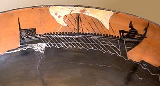 Diolkos - Image of a ship on Attic black-figure pottery (c. 520 BC). This is the sort of boat that the Diolkos may have transported in Periander's time.