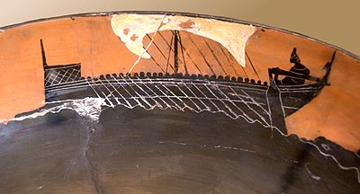 Image of a ship on Attic black-figure pottery. c.520 B.C. This is the sort of boat that the diolkos may have transported in Periander's time