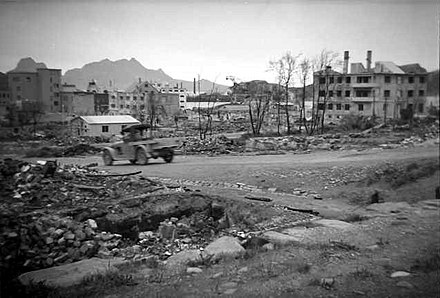 The city of Bodo, two years after being bombed by the Luftwaffe Bodo in 1942.jpg