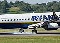 Boeing 737-800 (EI-DYY) of Ryanair lands at Bristol Airport, England 15Aug2016 arp.jpg