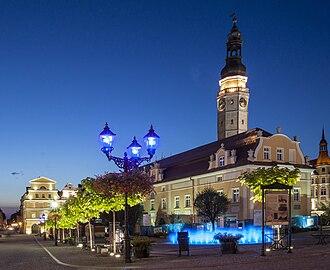 Bolesławiec - Town Hall at dusk