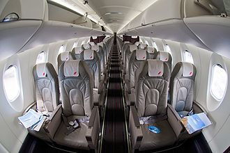 Bombardier CRJ700 series - Four abreast cabin seating of a CRJ-1000 NextGen