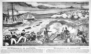 Bombardment of Mogador - Bombardment of Mogador. Cannons and naval mortar were both used.