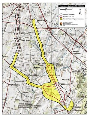 Battle of Boonsboro - Map of Boonsboro Battlefield core and study areas by the American Battlefield Protection Program.