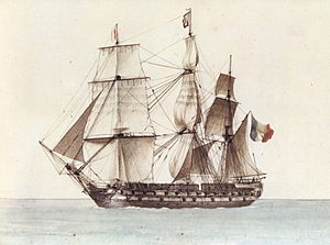 Full-rigged ship - The ''Borée'' stopped.