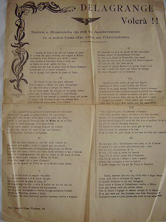 Bosinada - Delagrange volerà!, anonymous bosinada from the early 20th century