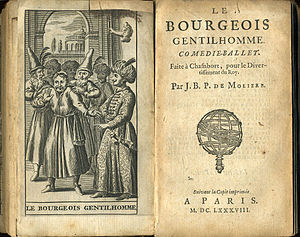 """Le Bourgeois gentilhomme - Frontispiece and titlepage of """"Le Bourgeois gentilhomme"""" from a 1688 edition."""