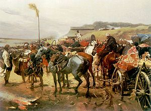 Battle of Ujście - Retreat of the Poles by Józef Brandt
