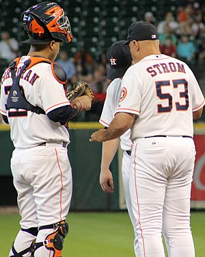 Brent Strom - Strom with an Astros pitcher and catcher (2014)