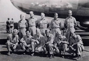 "USS Spearfish (SS-190) - Bricker Crew (B-29) Z-1 ""Pee Wee"" 1944. Left to right, back row: CPT Linden O. Bricker, 2LT Kenneth R. Chidester, 2LT Jay L. Meikle, 2LT Jack O. Mueller, 2LT Clifford B. Smith.  Front row: SGT Edmund G. Smith, CPL Emory A. Forrest, CPL William F. Frank, CPL Stephen J. Darienzo, SSG Richard J. Grinstead, CPL John C. Estes"
