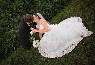 Husband - A newly wed husband kissing his bride