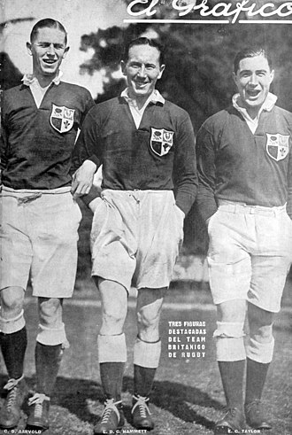 1927 British Lions tour to Argentina - C D Aarvold, E. Hammett and EG Taylor, covered on Argentine magazine El Gráfico