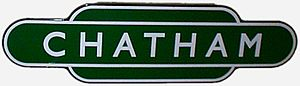 Chatham railway station - British Railways Southern Region totem sign for Chatham station.