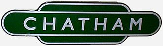 Chatham railway station - British Railways Southern Region totem sign for Chatham station.