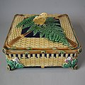 Brown Westhead Moore Butterfly box and cover, coloured glazes, c.1860.jpg