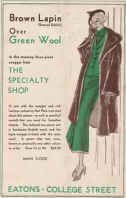 Brown lapin over green wool