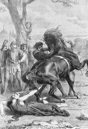 Brunhilda of Austrasia - Philippoteaux and Girardet, Die Folterung von Brunhilde.