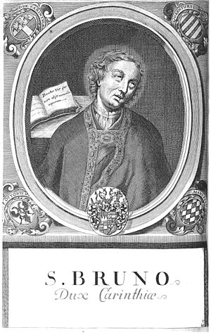 Bruno (bishop of Würzburg) - Engraving by Würzburg court and university engraver Johann Salver (1670–1738) from the series of Würzburg prince-bishops