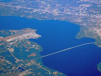 Buckman Bridge - An aerial view of the bridge looking northeast; NAS Jacksonville lies north of the western terminus of the bridge, seen in the left-center portion of this photo.