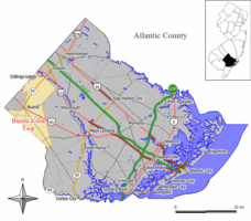 Map of Buena Vista Township in Atlantic County. Inset: Location of Atlantic County highlighted in the State of New Jersey.