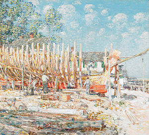 Building the Schnooer, Provincetown by Childe Hassam - BMA.jpg