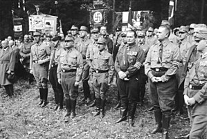 Nazism - Nazis alongside members of the far-right reactionary and monarchist German National People's Party (DNVP) during the brief NSDAP–DNVP alliance in the Harzburg Front from 1931 to 1932