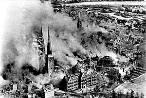 Lübeck Cathedral - Burning Lübeck Cathedral after an air raid in 1942