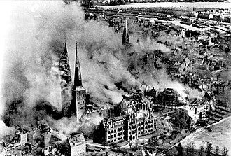Bombing of Lübeck in World War II - Lübeck Cathedral burning following the raids