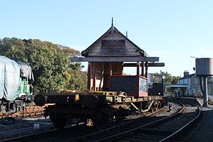 Bundoran Junction railway station - The cabin being moved through Downpatrick yard