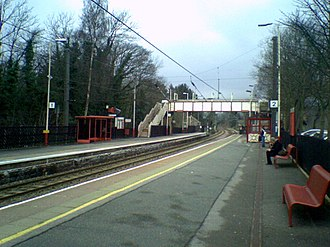 Burley-in-Wharfedale railway station - A view of Burley-in-Wharfedale railway station, looking along the line towards Ilkley