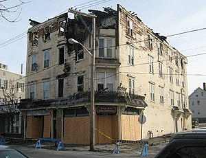 Varnum Building - A photo of the building after the fire